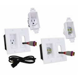 Midlite - 2A46W - 2 Gang Recessed Decor Receptacle Power/ Lv Kit
