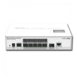 MikroTik - CRS212-1G-10S-1S+IN - Cloud Router Switch 212-1G-10S-1S+IN with Atheros QC8519 400MHz CPU, 64MB RAM, 1x Gigabit LAN, 10x SFP, 1x SFP+, RouterOS L5, LCD panel, desktop case, PSU