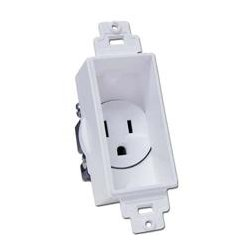 Midlite - MID2006 - 4641-W Recessed Single-Gang Receptacle w Screw Hardware (White Dcor)