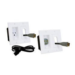 Midlite - MID2011 - 2A46-W Double Gang Dcor In-Wall Power Solution Kit w 6ft. Cord (White)