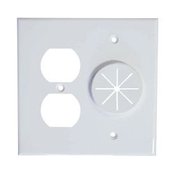 Midlite - MID2023W - DR2G-GR10-WH Duplex Receptacle and Wireport Plate with Grommet (White)