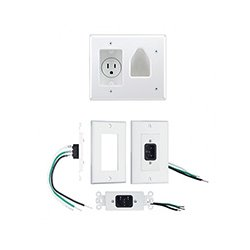 Metra Home Theater - MTH1081 - Metra Home Theater EDC-LVCP-WH Recessed Low Voltage CBL Wall PlateREC (White)
