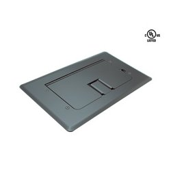 Mystery Electronics - FMCA2400 - Mystery Floor Box Satin Black Self-trimming Cable Door