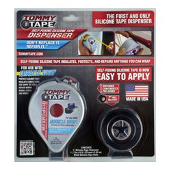 Tommy Tape Miracle Wrap - DS-200 - Tommy Tape Dispenser Preloaded with 10 Ft.of Black Tape and Bonus 10 Ft. Roll