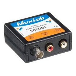MuxLab - 500,001.00 - MuxLab 500001 Stereo Audio (RCA) with Video (BNC) Balun