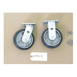 Wesco Industrial - 273,612.00 - Wesco 273612 Set of 2 Rigid & 2 Swivel Casters - Moldon Rubber Aluminum Hub - 6 Inch x 2 Inch