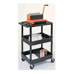 Luxor / H Wilson - STC211-B - Luxor STC211-B 24 x 18-Inch Black Plastic Multi-Purpose 3 Shelf Utility Cart