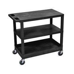 Luxor / H Wilson - EC221-B - Luxor EC221-B 32 x 18-Inch Black Plastic 1 Tub and 2 Flat Shelf Utility Cart