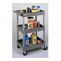 Luxor / H Wilson - STC211-G - Luxor STC211-G 24 x 18-Inch Gray Plastic Multi-Purpose 3 Shelf Roll Utility Cart