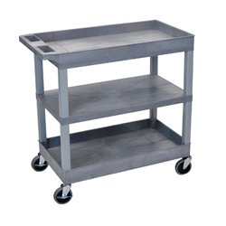 Luxor / H Wilson - EC121-G - Luxor EC121-G 32 x 18-Inch Gray Plastic 2 Tub and 1 Flat Shelf Roll Utility Cart