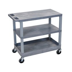 Luxor / H Wilson - EC221-G - Luxor EC221-G 32 x 18-Inch Gray Plastic 1 Tub and 2 Flat Shelf Roll Utility Cart