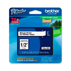 Brother International - TZE231M - Brother 0.47in x 26.2 ft (12mm x 8m) Black on White