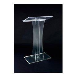 AmpliVox - SN352000 - Amplivox SN3520 Clear Acrylic Floor Lectern X Style with Shelf