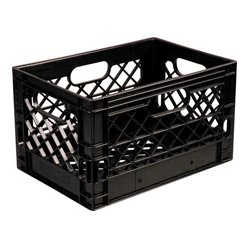 TecNec - PLA-24 - 24 Quart Grey Plastic Milk Crate Gray