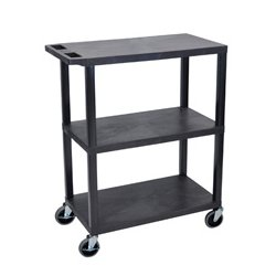 Luxor / H Wilson - EA42-B - Luxor EA42-B 42-Inch 3-Shelf Portable Flat Presentation Cart - Black