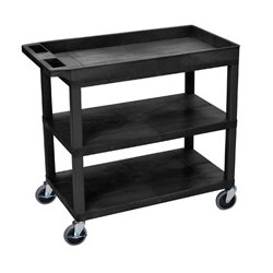 Luxor / H Wilson - EC122-B - Luxor EC122-B 32 x 18-Inch Black Plastic 2 Tub and 1 Flat Shelf Utility Cart
