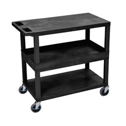 Luxor / H Wilson - EC212-B - Luxor EC212-B 32 x 18-Inch Black Plastic 1 Tub and 2 Flat Shelf Utility Cart