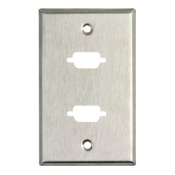 TecNec - WP1/2D - 1 Gang Wall Plate w/2 D-Sub HDMI-FF-CM cutouts