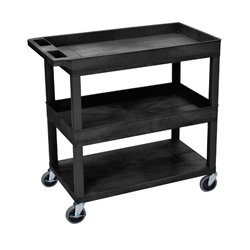 Luxor / H Wilson - EC112-G - Luxor EC112-G 32 x 18-Inch Gray Plastic 2 Tub and 1 Flat Shelf Roll Utility Cart