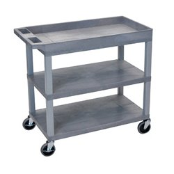 Luxor / H Wilson - EC122-G - Luxor EC122-G 32 x 18-Inch Gray Plastic 1 Tub and 2 Flat Shelf Roll Utility Cart