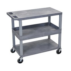 Luxor / H Wilson - EC212-G - Luxor EC212-G 32 x 18-Inch Gray Plastic 1 Tub and 2 Flat Shelf Roll Utility Cart