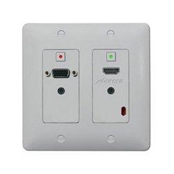 Aurora Multimedia - DXW-2-W - Aurora DXW-2-B/W 2 Input HDBaseT Wall Plate (VGA & HDMI) - White