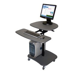 Luxor / H Wilson - LAMC3037 - Luxor LAMC3037 37-Inch Gray Adjustable Mobile Laptop Computer Stand Workstation