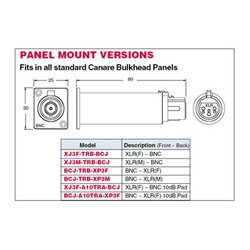 Canare Electric - BCJ-TRC-XP3F - Canare Digital Audio Impedance Transformer Panel Mount BNC- XLR(F)