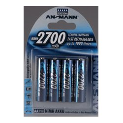 Ansmann Energy / Horizon Group - 5,030,842.00 - Ansmann 5030842 Mignon NIMH Rechargeable Battery AA 2700mAh - Pack of 4