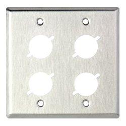 TecNec - WP2/4X - 2 Gang Wall Plate w/4 D Series Cutouts
