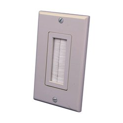 Vanco - 120815X - Vanco 1-Gang Decor Style Brush Bulk Cable Wall Plate Almond