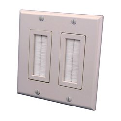 Vanco - 120825X - Vanco 2-Gang Decor Style Brush Bulk Cable Wall Plate Light Almond