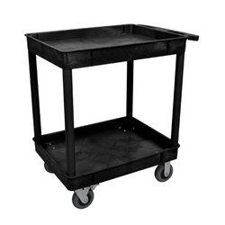 Luxor / H Wilson - TC11SP6-B - Luxor TC11SP6-B 32 x 24-Inch Black Plastic 2 Tub Multi-Purpose Roll Utility Cart