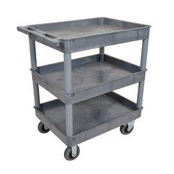 Luxor / H Wilson - TC111SP6-G - Luxor TC111SP6-G 32 x 24-Inch Gray Plastic 3 Tub Multi-Purpose Roll Utility Cart