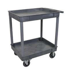 Luxor / H Wilson - TC11SP6-G - Luxor TC11SP6-G 32 x 24-Inch Gray Plastic 2 Tub Multi-Purpose Roll Utility Cart