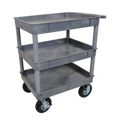 Luxor / H Wilson - TC111P8-G - Luxor TC111P8-G 32 x 24-Inch Gray Plastic 3 Tub Multi-Purpose Roll Utility Cart