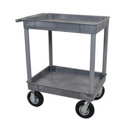 Luxor / H Wilson - TC11P8-G - Luxor TC11P8-G 32 x 24-Inch Gray Plastic 2 Tub Multi-Purpose Roll Utility Cart
