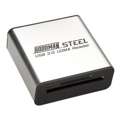 Hoodman - STEEL USB3 - Hoodman Steel-USB3 SuperSpeed USB 3.0 UDMA Card Reader 5 Gb/s Data Transfers 10X Faster Downloads Than USB 2.0