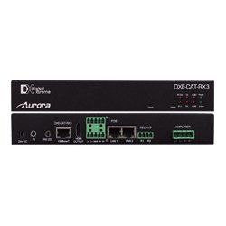 Aurora Multimedia - DXE-CAT-RX3C-A - Aurora HDBaseT Receiver 330/600 Ft - Dual Relay & Audio Line In/Out - 2x35W AMP & IP Control