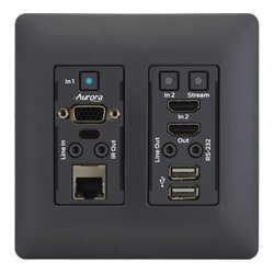 Aurora Multimedia - VLX-TCW2V-C-B - Aurora 4K IP Audio/Video Distribution Wall Plate - Black