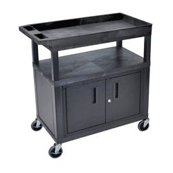 Luxor / H Wilson - EC122C-B - Luxor EC122C-B 32 x 18-Inch Black Plastic 1 Tub and 2 Flat Shelf Utility Cart