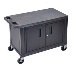 Luxor / H Wilson - EC25C-B - Luxor EC25C-B 32-Inch x 18-Inch 2-Shelf Multi-Purpose Cabinet Cart - Black