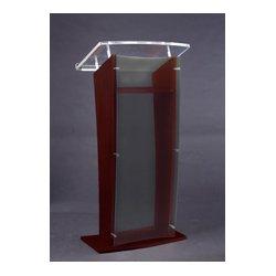 AmpliVox - SN350004 - Amplivox SN3500-CH Black Cherry & Clear Acrylic Panel Floor Lectern w/ Shelf