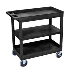 Luxor / H Wilson - EC121HD-B - Luxor EC121HD-B 32 x 18-Inch Black Plastic 2 Tub and 1 Flat Shelf Utility Cart