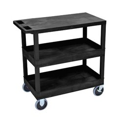Luxor / H Wilson - EC211HD-B - Luxor EC211HD-B 32 x 18-Inch Black Plastic 2 Tub and 1 Flat Shelf Utility Cart