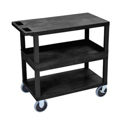 Luxor / H Wilson - EC212HD-B - Luxor EC212HD-B 32 x 18-Inch Black Plastic 1 Tub and 2 Flat Shelf Utility Cart