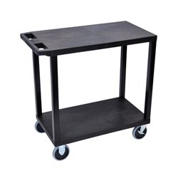 Luxor / H Wilson - EC22HD-B - Luxor EC22HD-B 32 x 18-Inch Black Plastic Multi-Purpose 2 Flat Utility Cart