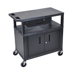 Luxor / H Wilson - EC34CD-B - Luxor EC34CD-B 34-Inch 3-Shelf Multi-Purpose Cabinet Cart w/ Drawer - Black