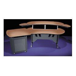 Middle Atlantic Products - ESUR+S12D-DC - Mid-Atlantic 60 In. Desk w/Overbridge 2 Racks/1-Bay 12-Space Rack (Dark Cherry)