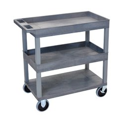 Luxor / H Wilson - EC112HD-G - Luxor EC112HD-G 32 x 18-Inch Gray Plastic 2 Tub and 1 Flat Shelf Utility Cart